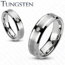 Tungsten gyűrű - csiszolt sáv egy cirkóniával
