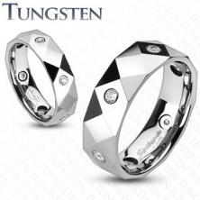 Gyűrű wolfrámból - rombuszok, háromszögek és cirkóniák