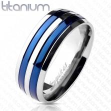 Karikagyűrű titánból két kék sávval