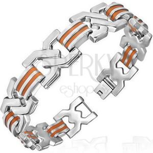 Karkötő acél elemekből - double X, narancsszín