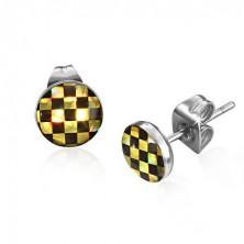 Bedugós fülbevaló acélból - sakkminta sárga és fekete színben