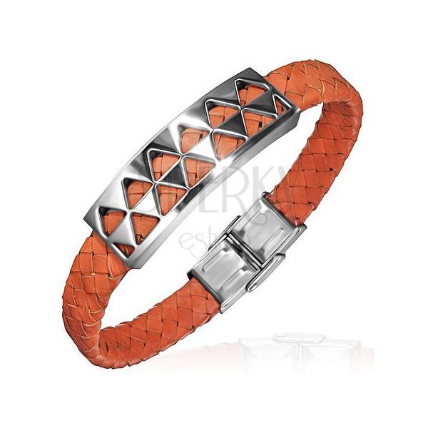 PVC karkötő háromszöges acéldísszel, narancsszín