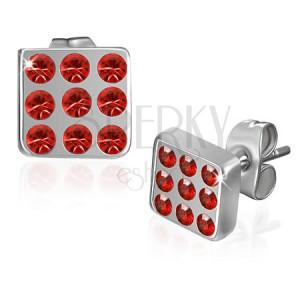Fülbevaló - piros cirkonkövekkel kirakott négyzet