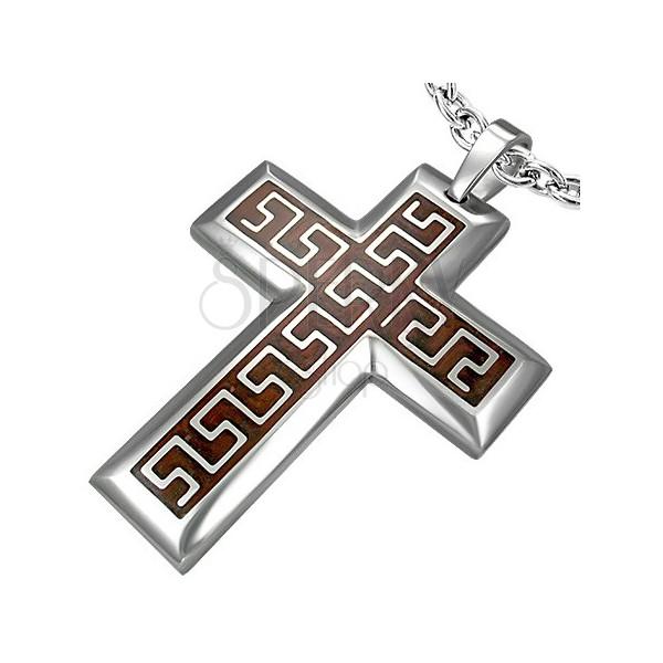 Kereszt sebészeti acélból barna alapon azték mintával