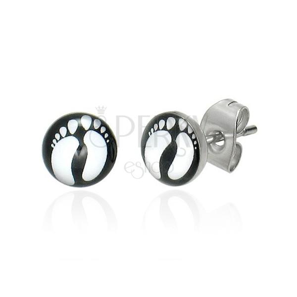 Kerek fülbevaló sebészeti acélból - két fehér talpacska