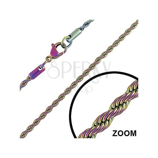Anodizált acél lánc - tekert kötél, szivárvány 2,8 mm
