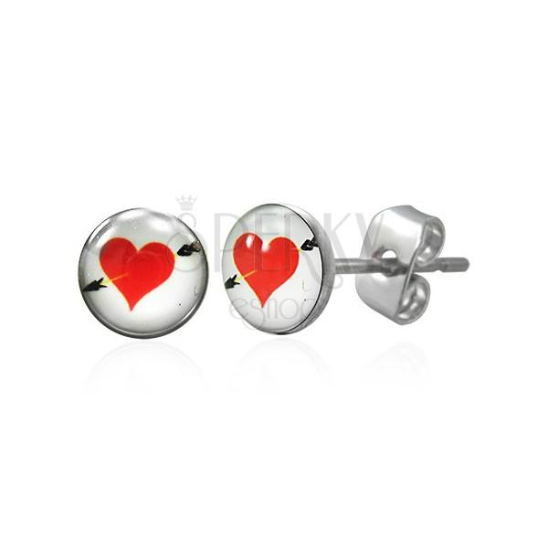 Fülbevaló sebészeti acélból, piros szív nyíllal