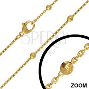 Nyaklánc acélból kis szemekből gömbökkel, arany, 3 mm
