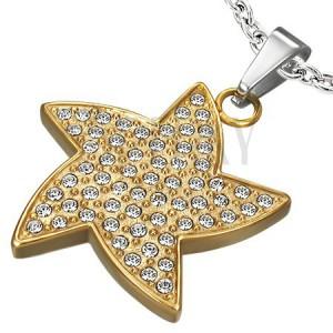 Aranyszínű acélmedál - cirkonköves csillag