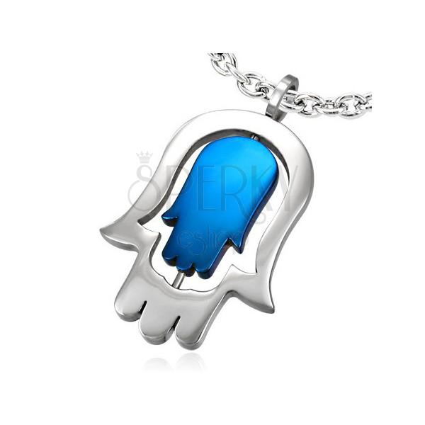 Sebészeti acél medál - kettős Fatima kéz, kék