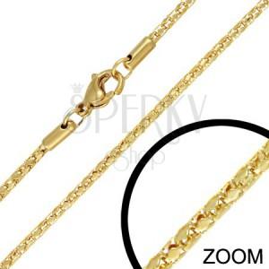 Nyaklánc acélból - aranyszínű üreges kígyó, 2 mm