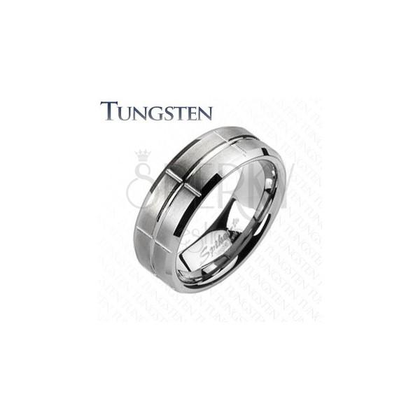 Wolfrám gyűrű - csiszolt, vésetekkel
