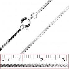 Sebészeti acél nyaklánc - összekapcsolt S elemek, 1,4 mm