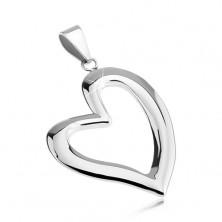 Medál sebészeti acélból - asszimetrikus szív körvonal
