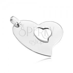Medál acélból - szabálytalan szív kis szívecskével