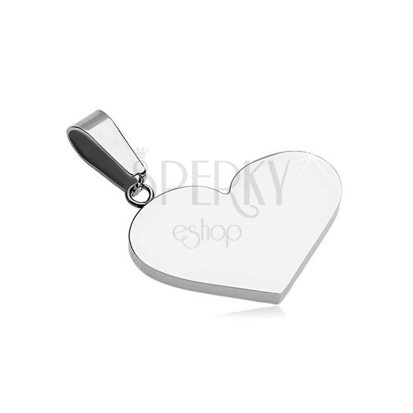 316L acél medál - lapos teljes szív, ezüst szín