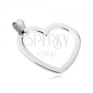 Tükörfényes medál acélból - egyszerű szív keret