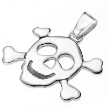 Sebészeti acél medál - kalóz koponya és csontok
