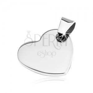 Fényes medál acélból - kis lapos szívecske