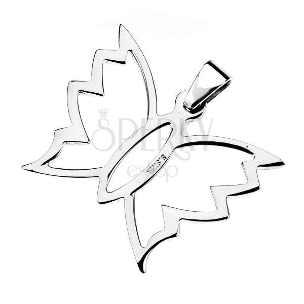 Cakkos szárnyú lepke medál acélból
