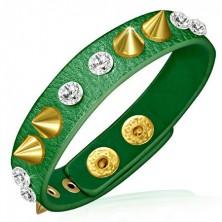 Bőrkarkötő arany tüskékkel és cirkóniákkal - zöld