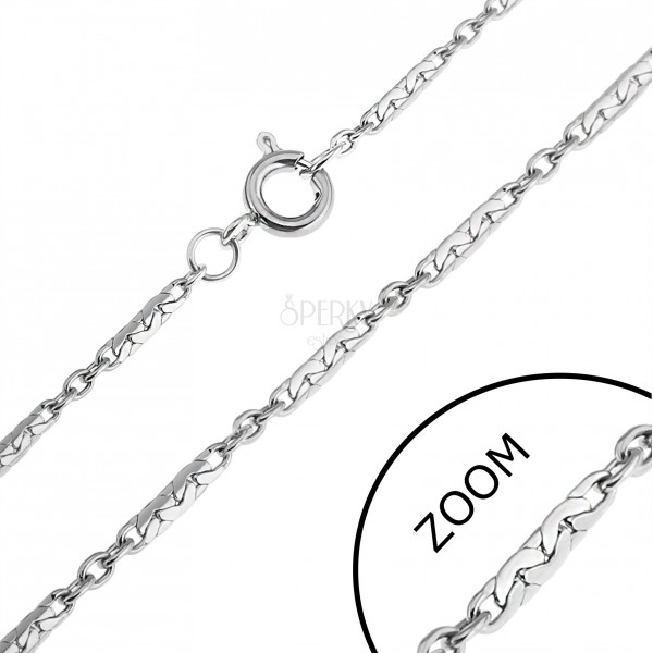 Rozsdamentes acél lánc - szorosan csatolt pálcák és karikák