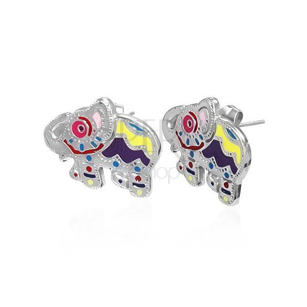 Bedugós acél fülbevaló - tarka elefánt