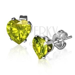 Bedugós fülbevaló acélból - zöldessárga szív, Augusztus
