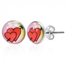 Beszúrós fülbevaló 316L acélból - szerelmes szívek nyíllal