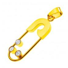 Medál acélból- aranyszínű biztostű, három cirkonkő