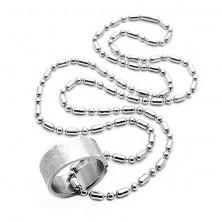 Acél nyakék - imaszöveges gyűrű vékony láncon