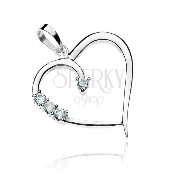 Medál ezüstből - szív körvonal és cirkóniák