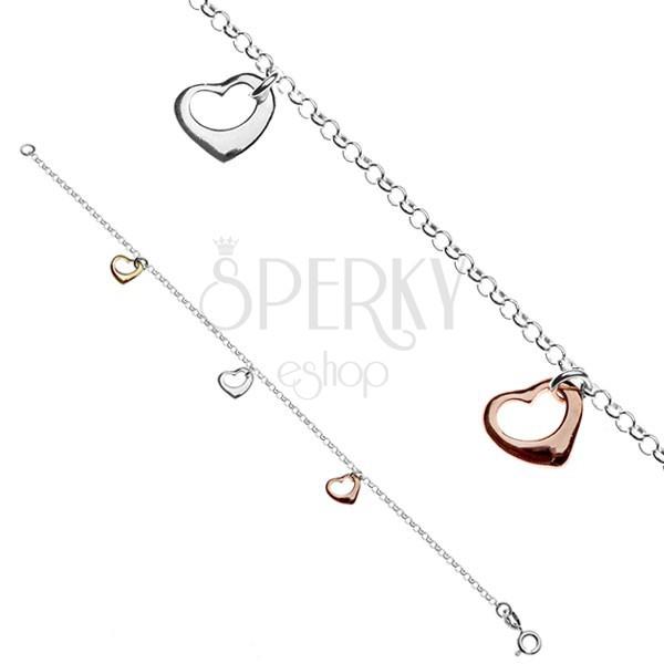 Karlánc 925 ezüstből - három színes szív medál
