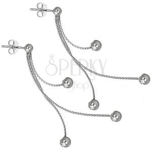 Bedugós fülbevaló ezüstből - három golyócska láncokon