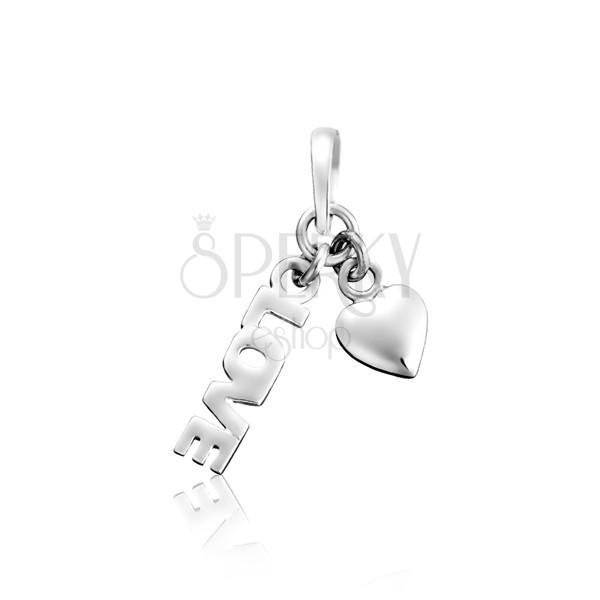 925 ezüst medál - LOVE és szívecske