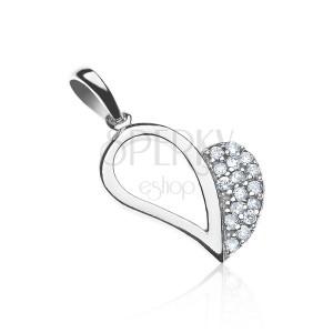 Függő ezüstből -fél oldalán cirkonkövekkel díszített szív