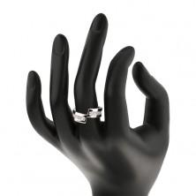 925 ezüst karikagyűrű – megszakított vonal, ragyogó cirkóniák