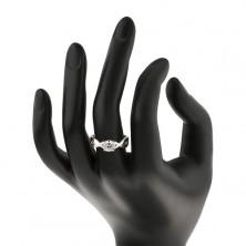 Eljegyzési gyűrű ezüstből - kerek cirkónia fonott szárak között
