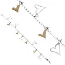 Karlánc ezüstből - kétszínű szívecske függők