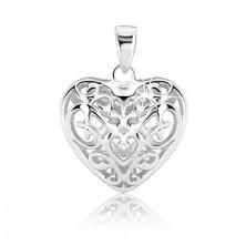 Ezüstmedál - domború szív csipkedíszekkel