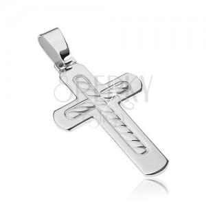 Kereszt 925-ös ezüstből- lekerekített élek, kötélminta
