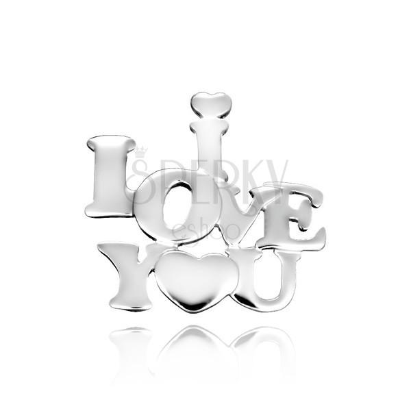 925-ös ezüst medál - szerelmes felirat szívecskével