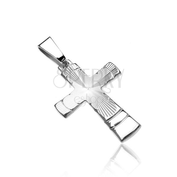 925 ezüst függő - kereszt sugaras vésettel és ívekkel