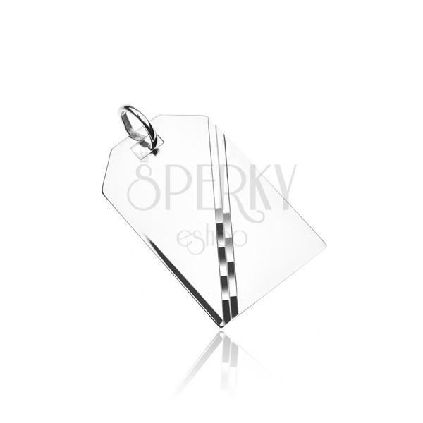 Medál ezüstből - tükrösen fényes tábla átlós díszítéssel