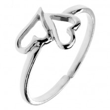 Gyűrű 925-ös ezüstből - két szabálytalan szív, állítható méret