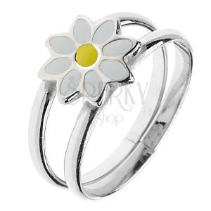 925 ezüst gyűrű - kettős karika és margaréta, állítható méret