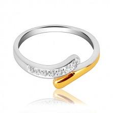 925 ezüst gyűrű - hajlított sáv cirkóniákkal és arany színezéssel