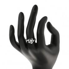 Gyűrű 925 ezüstből - gravírozott virág, állítható méret