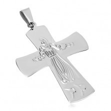Sebészeti acél medál, Jézus kereszten, ezüst szín
