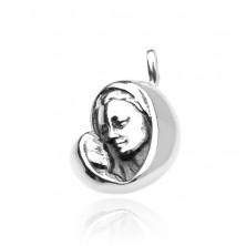 925 ezüst medál - Mária a gyermekkel, finoman antikolt